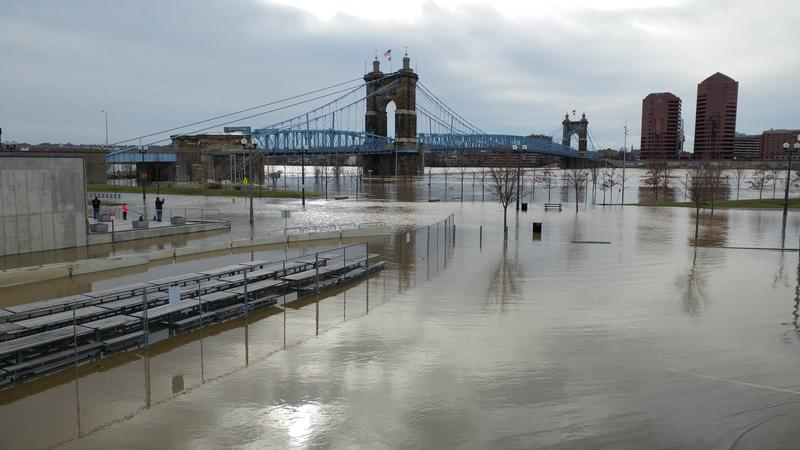 As of Sunday morning, flood waters spread across Lot D parking at the Banks.