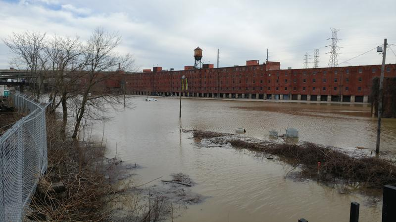 The parking lot at Longworth Hall was underwater as of Sunday afternoon.