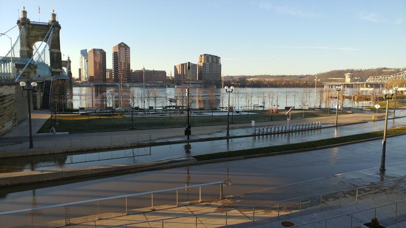 Two days after it crested, the Ohio River was still covering much of Smale Riverfront Park.
