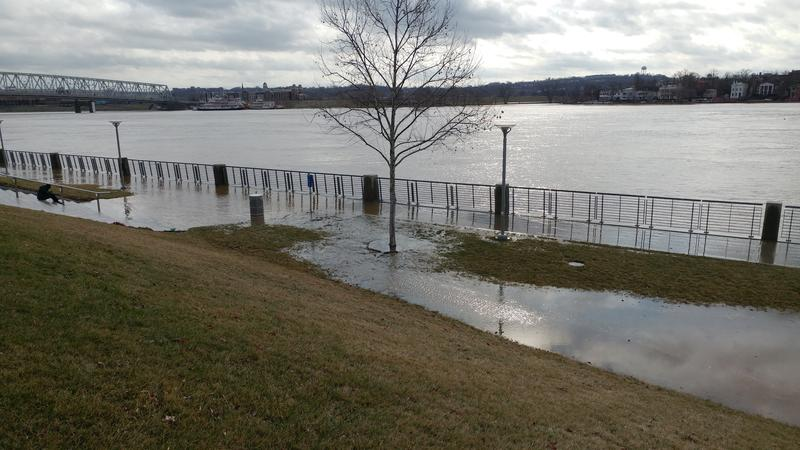 Floodwaters were creeping into Smale Riverfront Park.