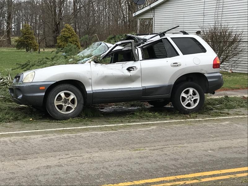 Overnight storm damage in Hamersville, Ohio, about 45 miles east of Cincinnati.