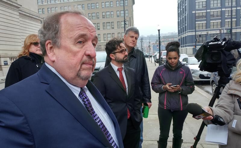 Public Defender Ray Faller (left) and Stephen Johnsongrove (center) speak Friday morning about bail reform.