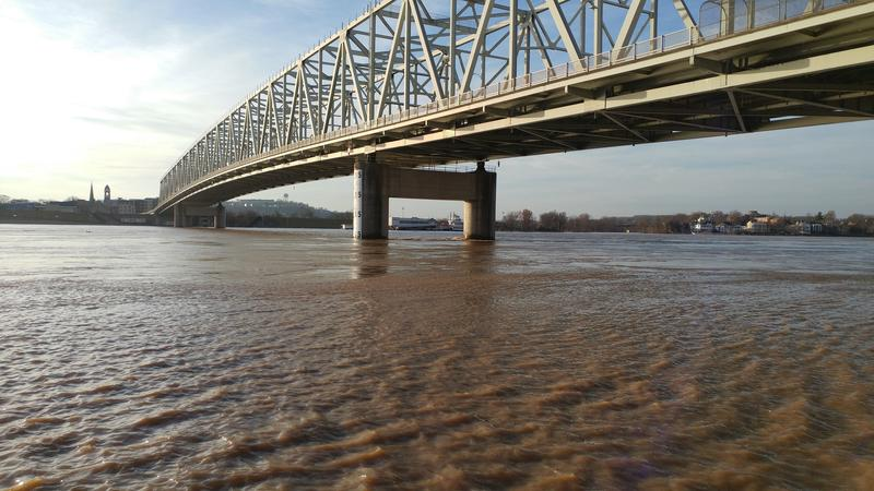 Ohio River under a bridge