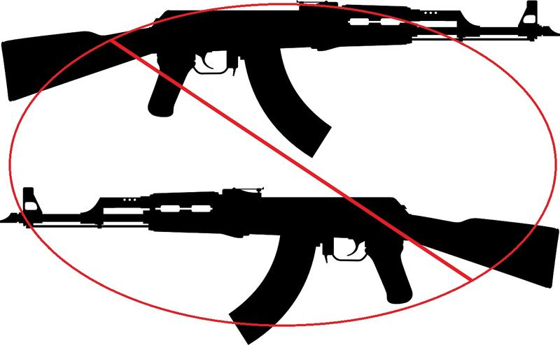 guns with red circle and line across.