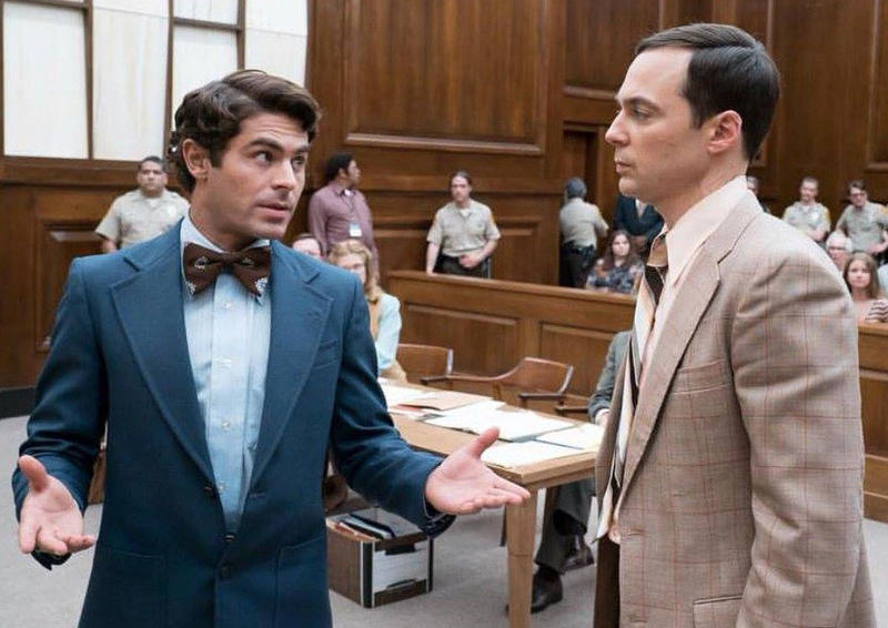 Zac Efron and Jim Parsons film a courtroom in February 2018 in Northern Kentucky.