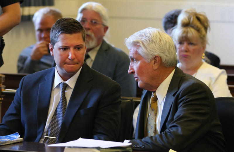 Ray Tensing (left) with attorney Stew Mathews during his second trial for the shooting death of Sam DuBose.