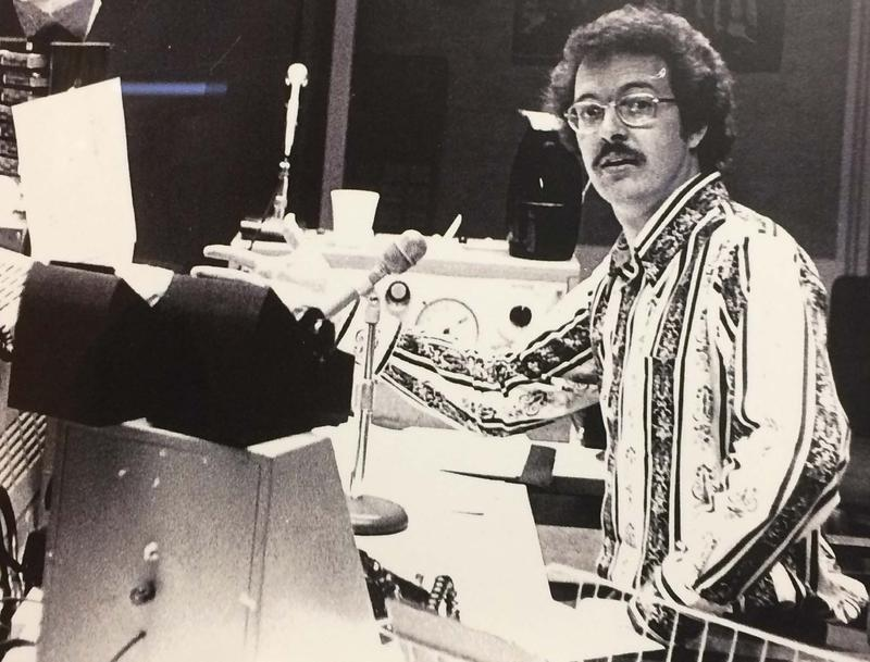 A young Jim Scott on the radio.