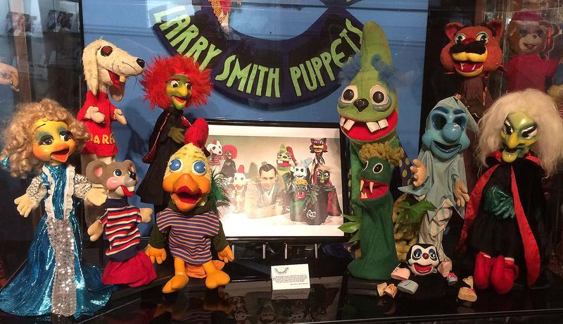 Larry Smith puppets on display at the National Voice of America Museum of Broadcasting.