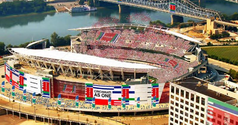 An artist rendering of Paul Brown Stadium during a proposed World Cup soccer match.