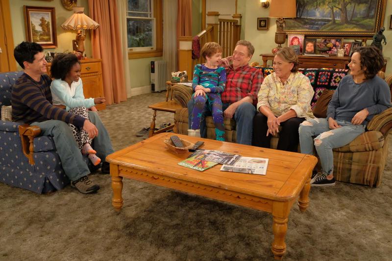 "The 2018 ""Roseanne"" cast includes, from L-R, son DJ (Michael Fishman), his daughter Mary (Jayden Rey), grandson Mark (Ames McNamara), Dan and Roseanne Conner (John Goodman, Roseanne Barr) and daughter Darlene (Sara Gilbert)."