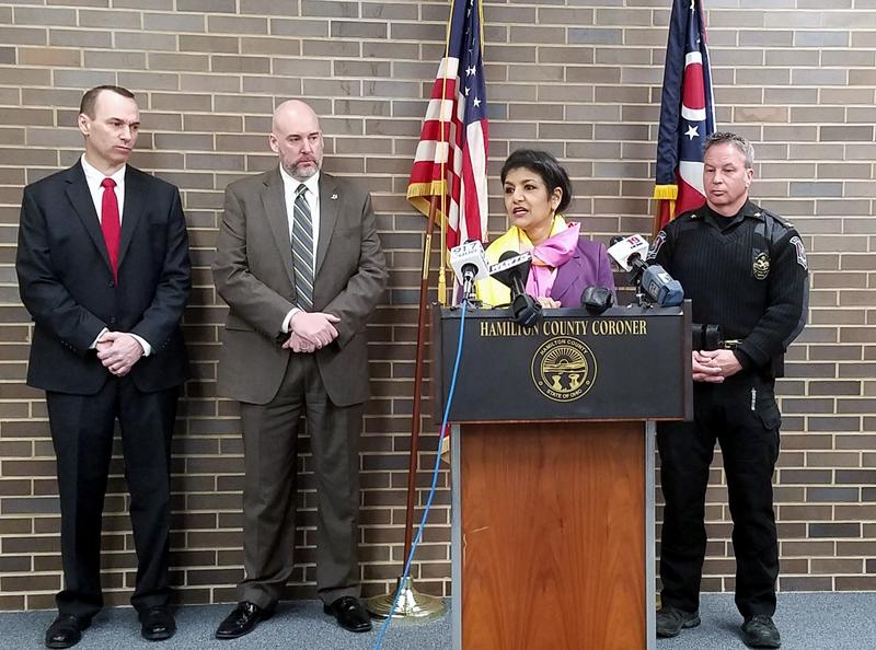 Hamilton County Coroner Dr. Lakshmi Sammarco (at podium) speaks during a news conference detailing the local heroin epidemic.
