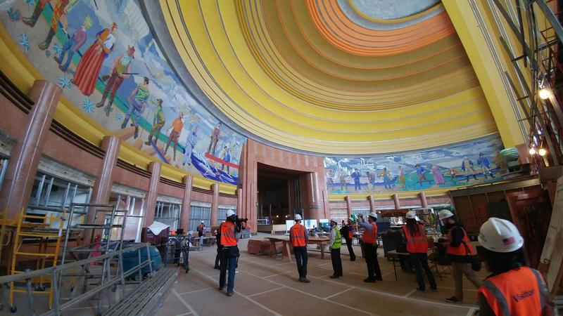 Much of the work on the museum's rotunda is complete, including the restoration of the murals.