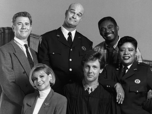 """Night Court"" starred (front row) Markie Post, Harry Anderson (back row) John Larroquette, Richard Moll, Charles Robinson and Marsha Warfield"