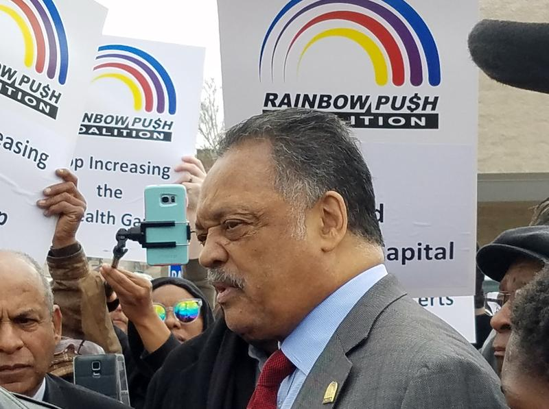 The Rev. Jesse Jackson, surrounded by supporters and fans, talks about why he's leading a boycott of Cincinnati-based Kroger Co.