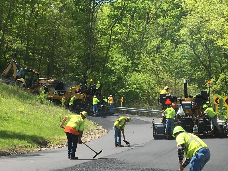 Paving crew on State Route 350 in Warren County at the Ft. Ancient hill/curve in 2017.