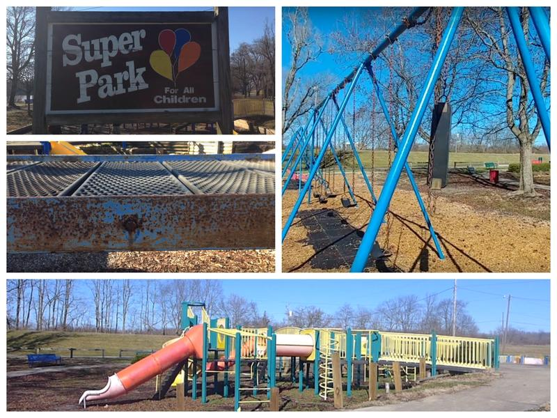 Once state-of-the-art, this playground is old, unappealing, and not ADA-compliant.
