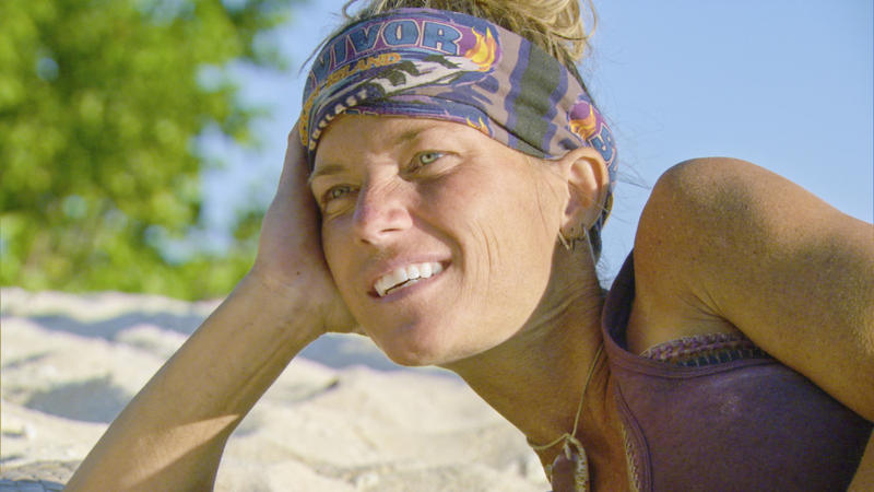 "Angela Perkins relaxes during the final episode of ""Survivor: Ghost Island"""