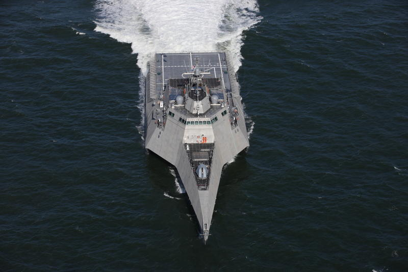 The USS Cincinnati is a littoral combat ship like the one shown here, the USS Tulsa (LCS 16).