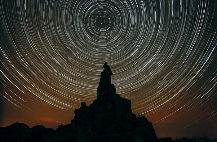 Star trails over the Wasserkuppe near the core zone of the Rhön Dark Sky Reserve.