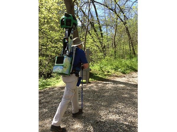 Teams wore Google Trekker utility backpacks that function like Google Street View cars.