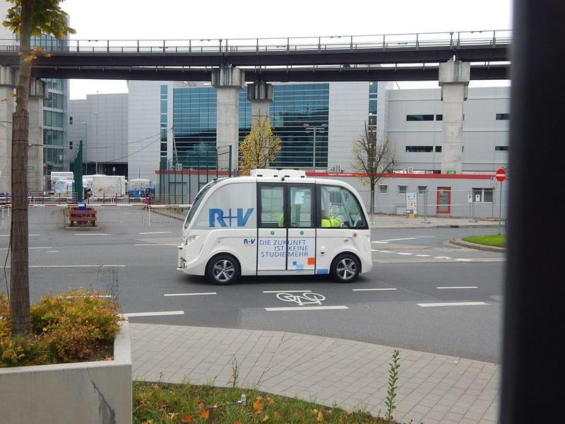 Test of driverless shuttle buses at the Frankfurt, Germany Airport in October 2017.