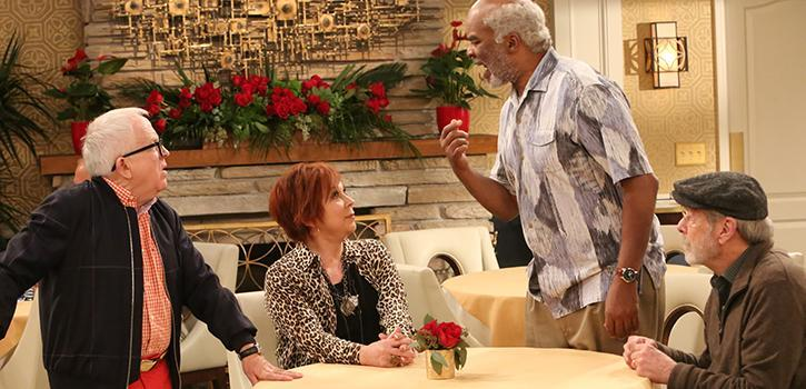 """The Cool Kids"" retirement home sitcom stars (from left) Leslie Jordan, Vicki Lawrence, David Alan Grier and Martin Mull."