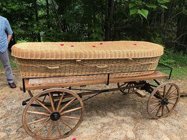 Green burials often utilize a biodegradable casket like this one made of wicker.