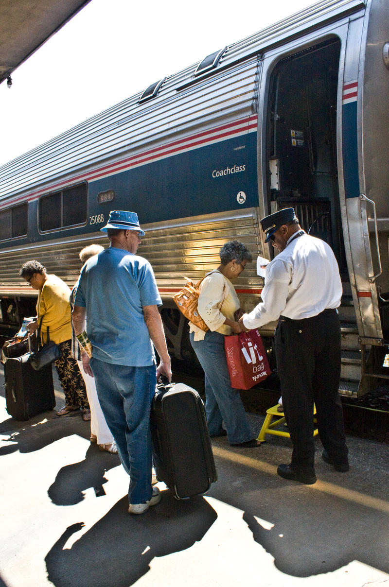 Customers board the Cardinal at Prince Station, West Virginia. The Cardinal operates between New York and Chicago three days a week.
