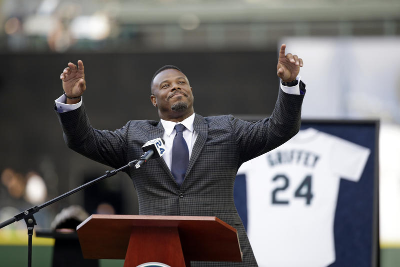 Former Seattle Mariners outfielder, and Moeller High School graduate, Ken Griffey Jr. is honored for his Hall of Fame induction before a baseball game Aug. 7, 2016, in Seattle.
