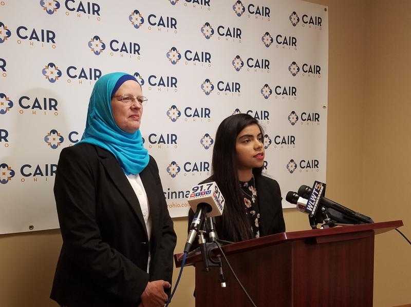 CAIR Executive Director Karen Dabdoub (left) and staff attorney Sana Hassan speak with media about Tuesday's Supreme Court decision upholding President Trump's travel ban.