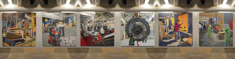 Composite view of six Work/Surface formica murals.