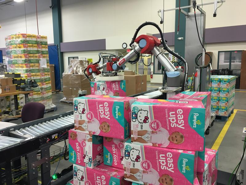 This robot, being tested at CETL, is able to arrange this disorganized pallet for shipping using 3-D vision.