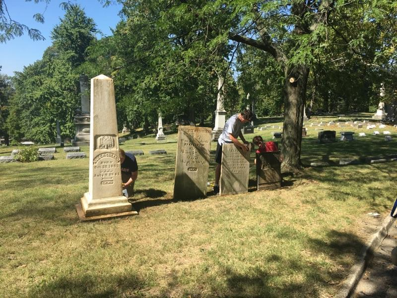 Allen Cullum's monument at Dayton, Ohio's Woodland Cemetery in August 2017 when Curtis O'Regan chose the clean-up and restoration of the monument as his Eagle Scout project.