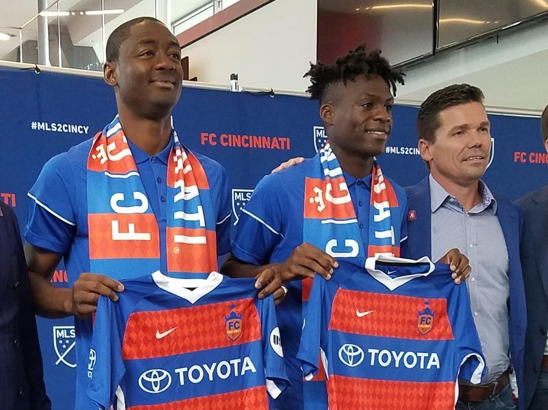 FC Cincinnati's first two MLS signings, Fanendo Adi (left) and Fatai Alashe