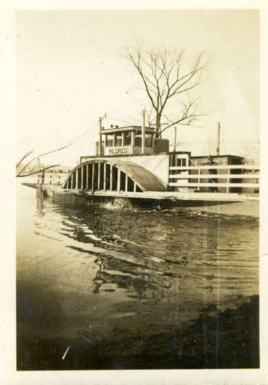 The Mildred, built in 1922 by Stewart Whitlock, ferried passengers between Rabbit Hash and Rising Sun until 1945.