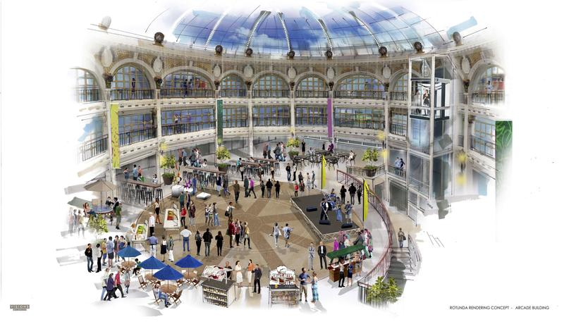 A concept rendering of the rotunda in The Arcade, Dayton, Ohio.