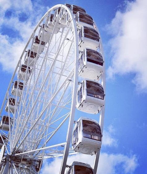 The giant wheel will be at The Banks during Oktoberfest, and through the Thanksgiving holiday.