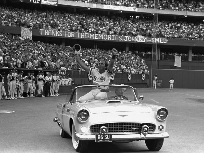 Cincinnati Reds catcher Johnny Bench rides around Riverfront Stadium acknowledging the cheers of the crowd on Saturday night, September 17, 1983. Bench retired at the end of that season.