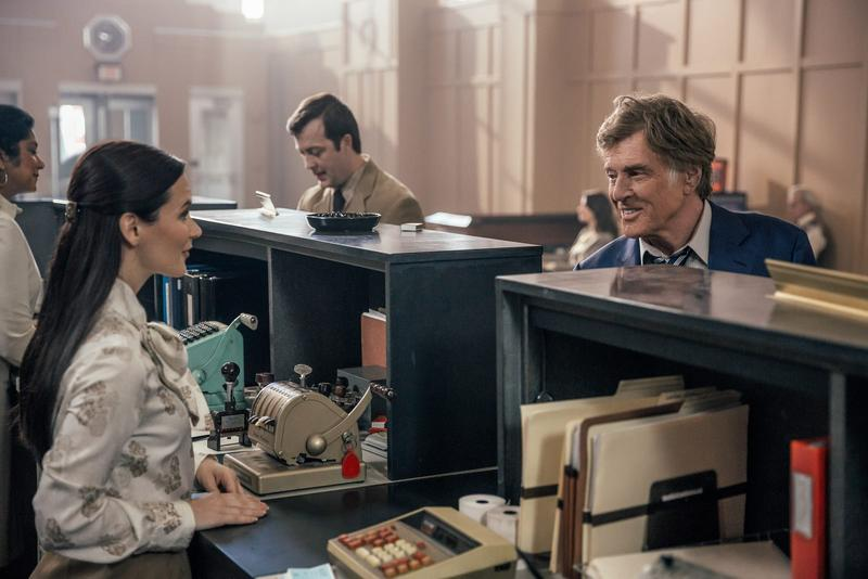 Robert Redford as Forrest Tucker robbing a bank in the old Liberty Savings Bank in Dayton, Ohio.