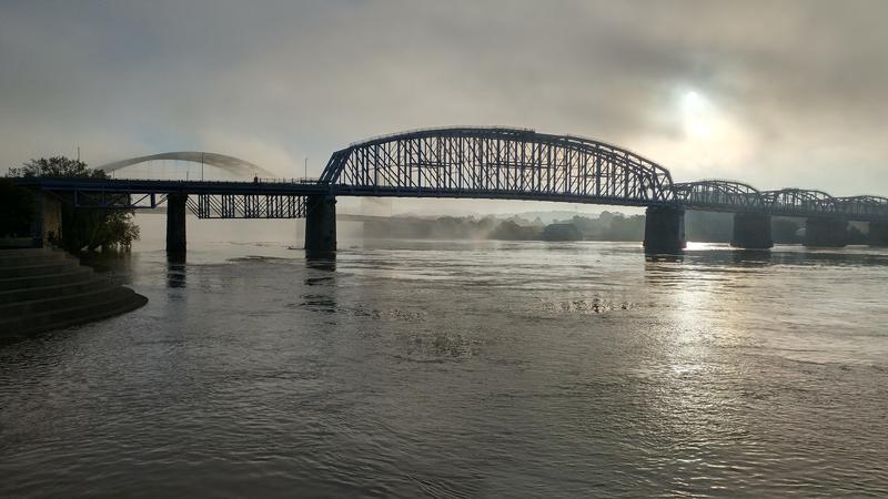 Fog rolls in over the Ohio River near the Purple People Bridge.