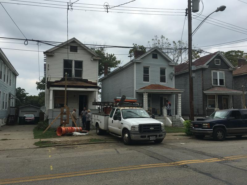 This Evanston home, with construction equipment outside, is being rehabbed by The Port.