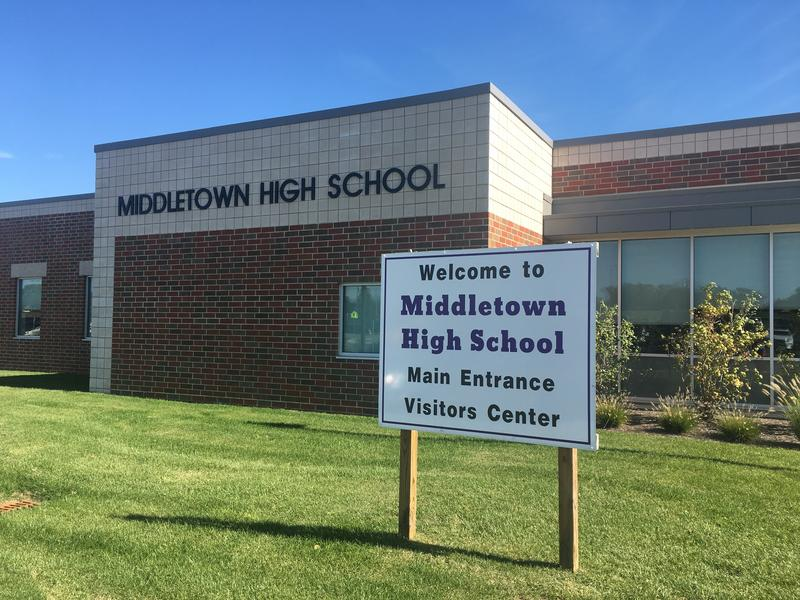 The Middletown High School campus, which includes a new middle school, has been reconfigured inside to encourage collaboration and the use of technology.