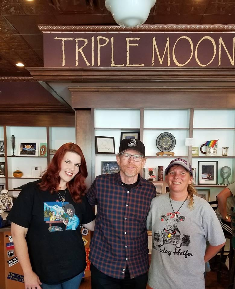 Ron Howard at downtown Middletown's Triple Moon Coffee Company Tuesday with manager Renea Theiss (elft) and owner Heather Gibson (right).