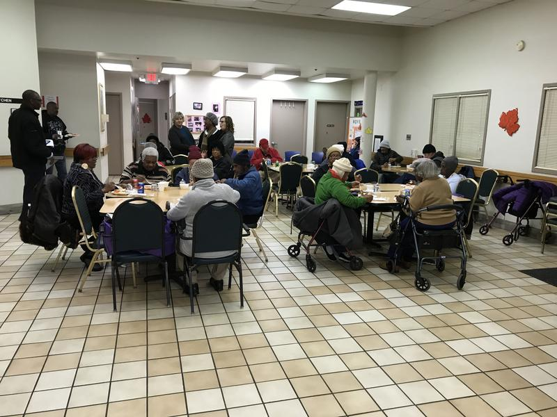Seniors enjoying lunch Wednesday at the Over-the-Rhine Senior Center on Race Street.