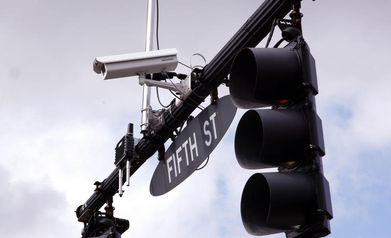 Connected technology installed on a traffic light in Marysville, Ohio communicates with connected vehicles as they approach.