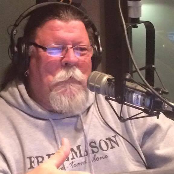 Ernie Brown in the radio studio.