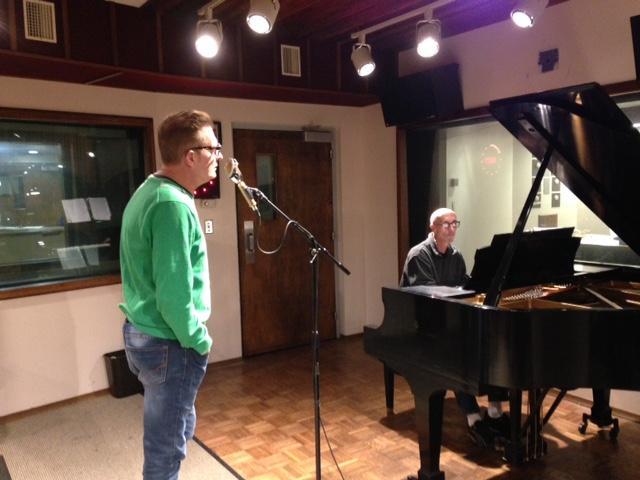 Tim Goldrainer of The Menus & pianist Greg Dastillung from Curly & the Q-Balls in WVXU's studio