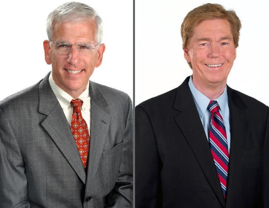 Tom McKee (left) and Ken Broo are retiring from WCPO-TV  after a combined 67 years on Cincinnati television.