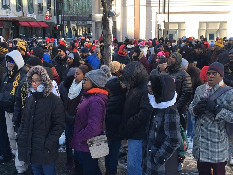Many braved single-digit temperatures for the MLK march from the Freedom Center to Fountain Square to Music Hall Monday.