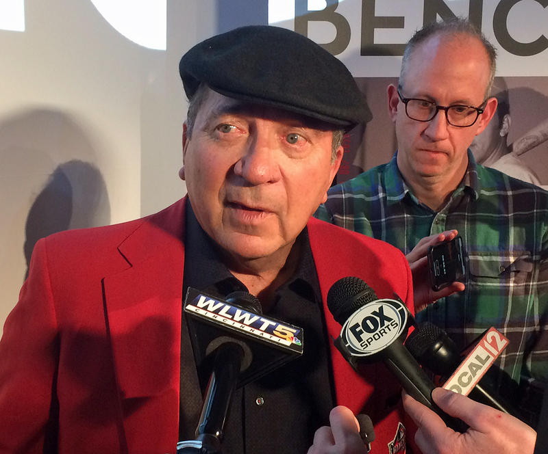 Johnny Bench talks to media after the 'BENCH' screening at Great American Ball Park.